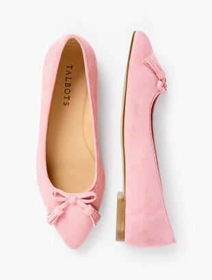 Poppy Bow Flats - Suede