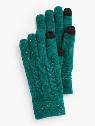 Cable Stitch Tweed Touch Gloves