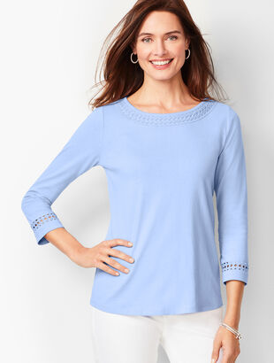 Circle-Lace Trim Top