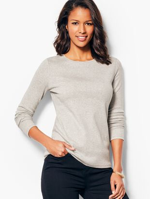 Long-Sleeve Crewneck Tee - Heathered
