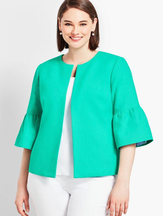 Flare-Sleeve Tweed Jacket