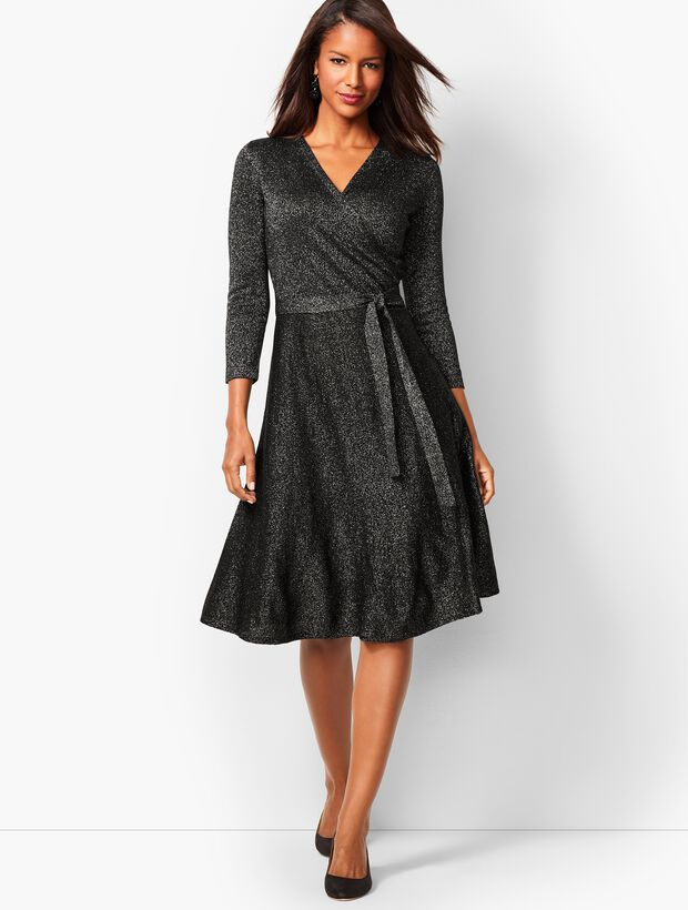 Merino Shimmer Wrap Dress