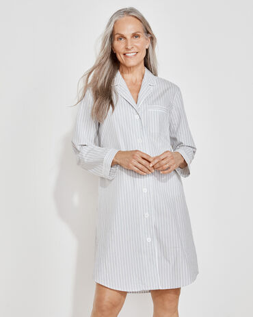 Organic True Cotton Tonal Striped Sleep Shirt