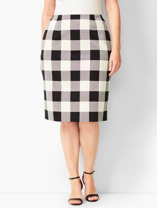 Twill Gingham Pencil Skirt