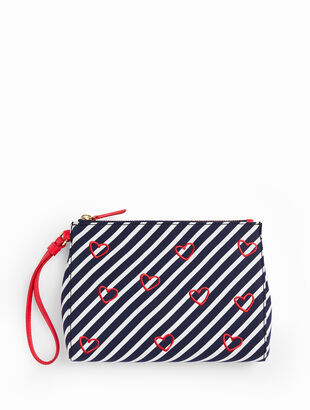 Embroidered Hearts Novelty Wristlet