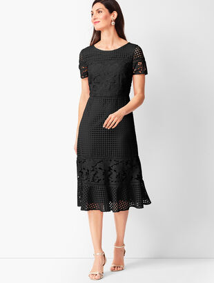Mixed-Lace Fit & Flare Dress