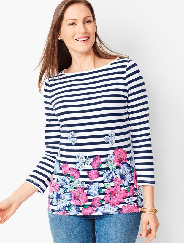 Cotton Bateau-Neck Tee - Floral Stripe