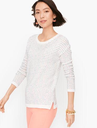 Open Stitch Cotton Blend Sweater - Stripe