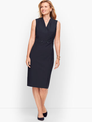 Seasonless Wool Faux Wrap Sheath Dress