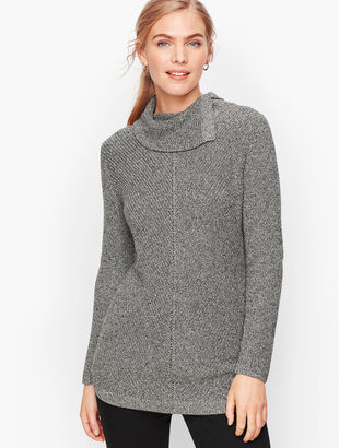 Chevron Stitch Split Neck Sweater - Marled