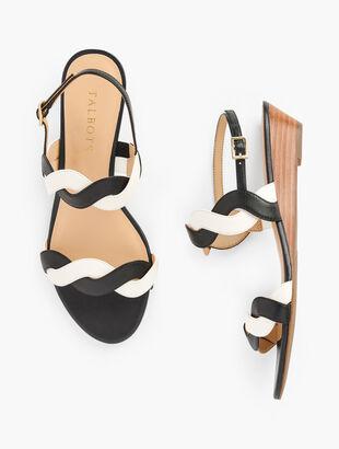 Capri Twist Mini Wedge Sandals - Nappa Leather
