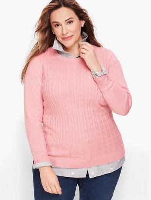 Button Cuff Cable Sweater