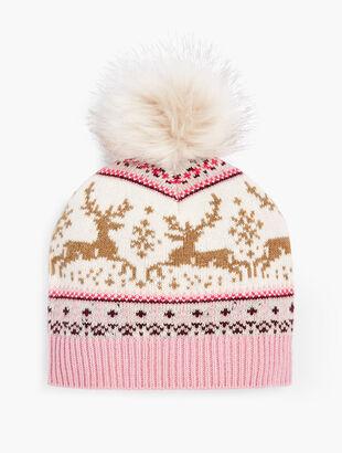 Reindeer Fair Isle Pompom Hat