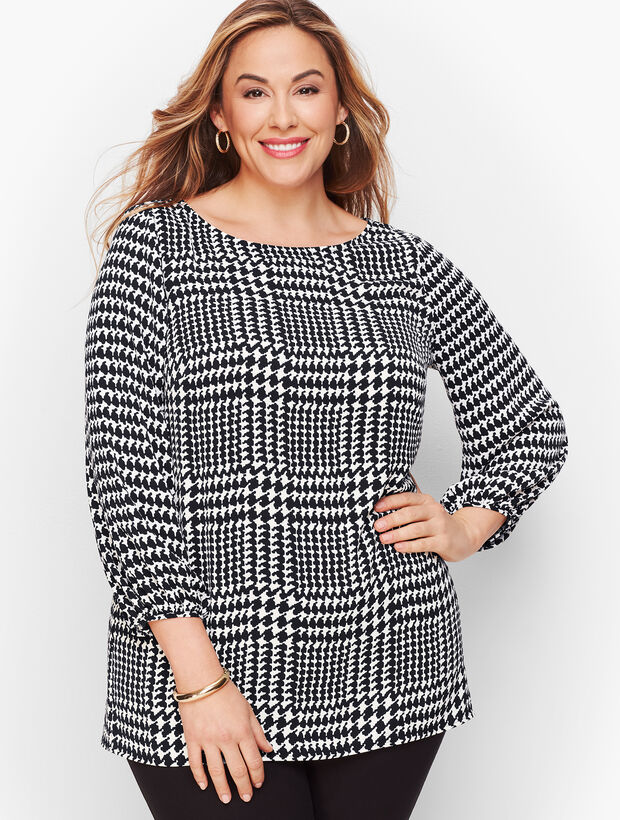 Poet Sleeve Top - Houndstooth