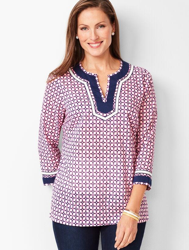 Grosgrain-Trim Geo-Print Cotton Tunic