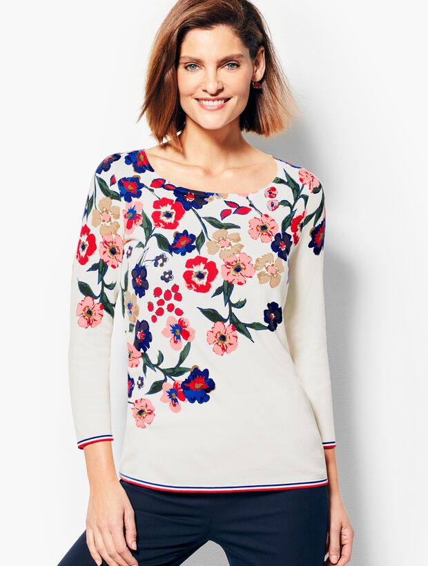 Three-Quarter-Sleeve Cascading Botanicals Sweater