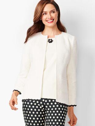 Scallop-Trim Tweed Jacket