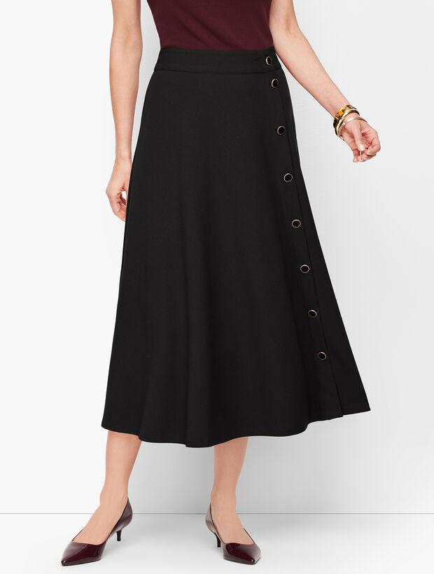Stretch Crepe Midi Skirt