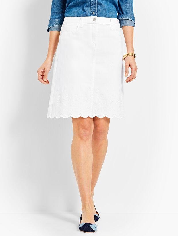 Embroidered Scallop-Hem Denim Skirt