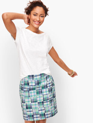 Cotton Canvas A-Line Skirt - Madras