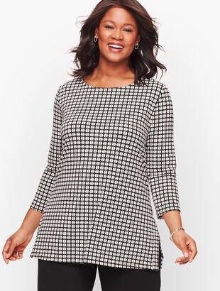 Knit Jersey Bateau Neck Tunic - Foulard Print