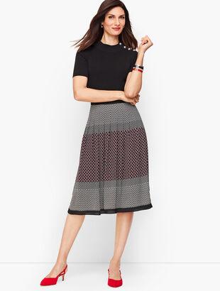 Geo Print Pleated Full Skirt