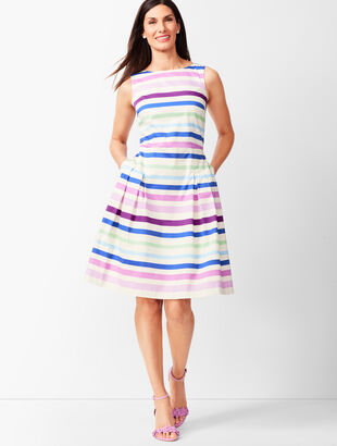 Sateen Stripe Fit & Flare Dress