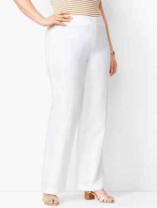 Plus Size Linen Palazzo Pants - Lined White
