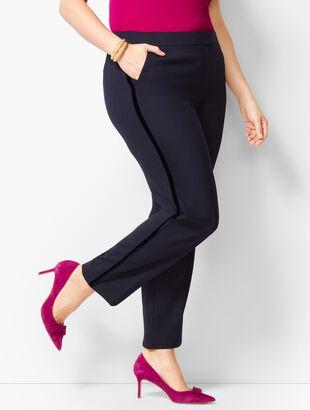 Velvet-Trim Slim-Ankle Pant