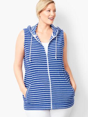 Stripe Loop-Terry Hooded Vest