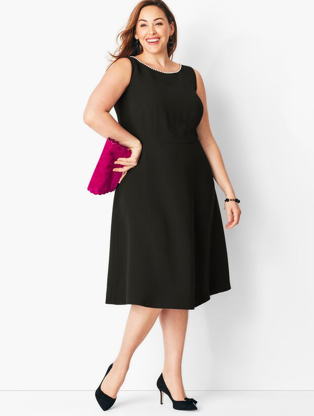 Crepe & Pearl Fit & Flare Dress