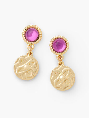 Glass Medallion Drop Earrings