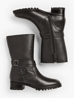 Tish Double-Strap Leather Boots