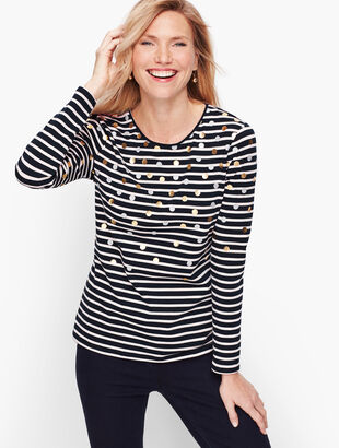 Long Sleeve Crewneck Tee - Metallic Dot