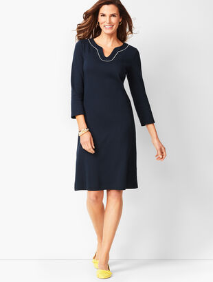 Trimmed Cotton Knit Shift Dress