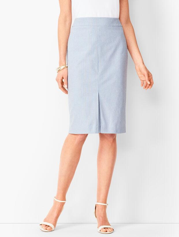 Lightweight Seersucker Pencil Skirt