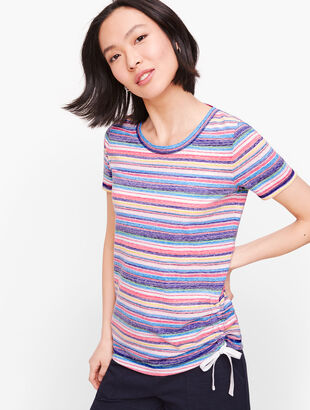 Jersey Side Drawstring Tee - Stripe