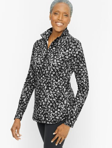 On The Move Half Zip - Blurred Floral