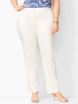 Monterey Cotton Straight-Leg Pants - White