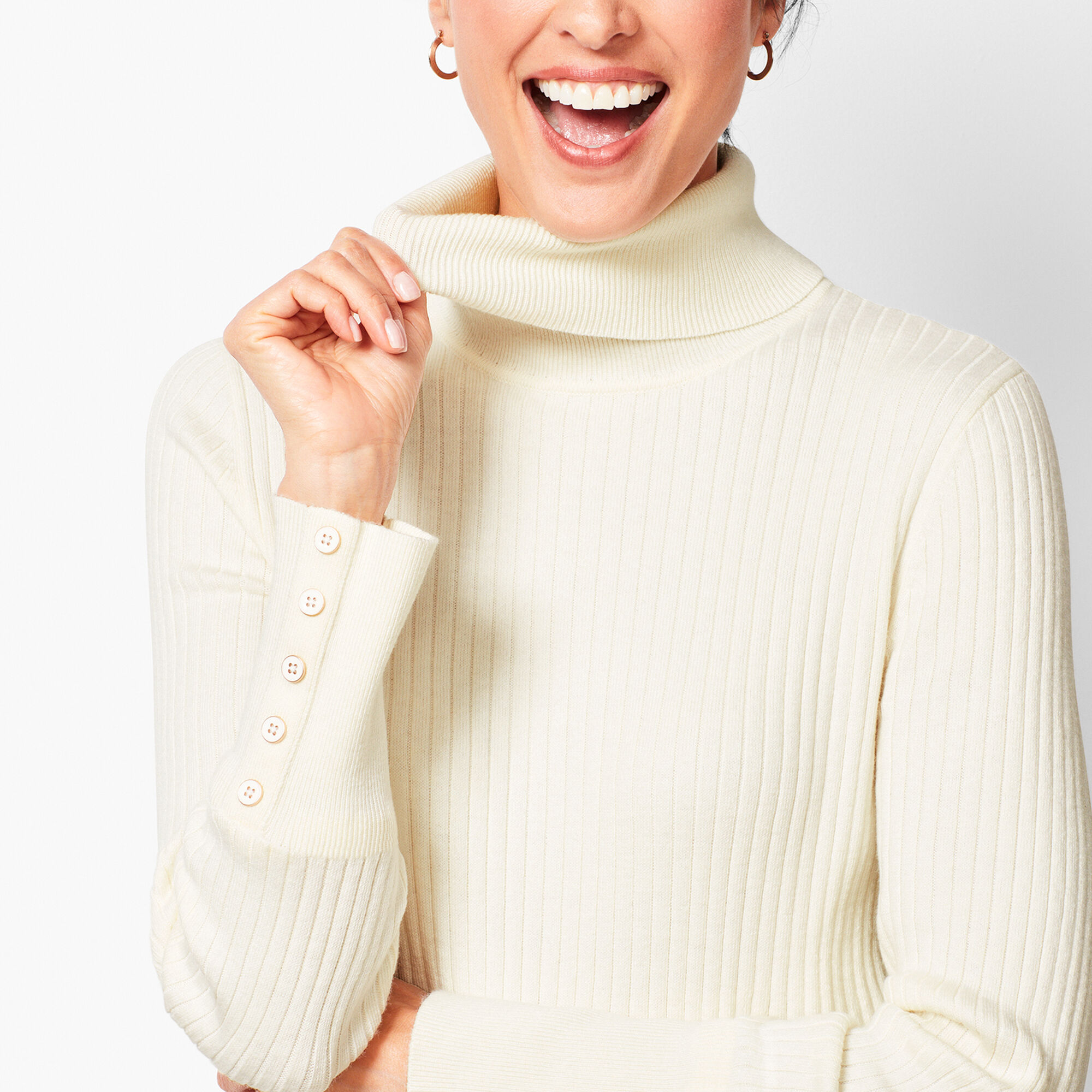 b1b32ded005 Button-Cuff Ribbed Turtleneck Sweater - Solid