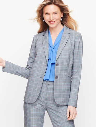 Springtime Plaid Two Button Blazer