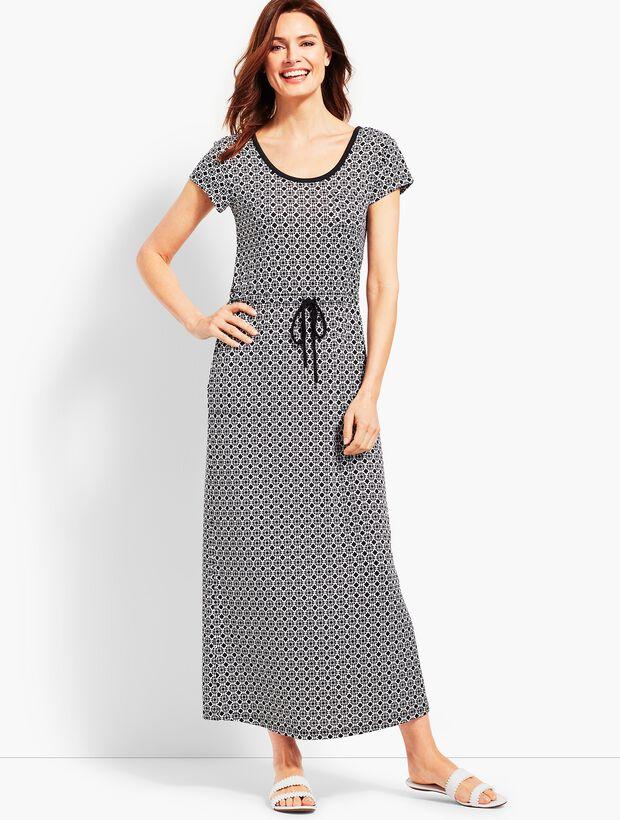 Soft Drape Jersey Dress - Joyful Geo Print