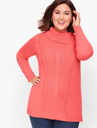 Split Cowlneck Cable Sweater