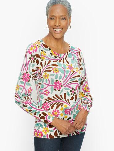Puff Sleeve Merino Wool Pullover - Floral Stitch Print