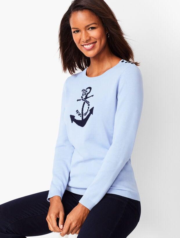Anchor Motif Crewneck Sweater