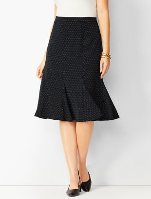 Pleated Dot Midi Skirt