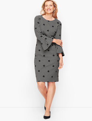 Dot Houndstooth Flare Sleeve Sheath dress