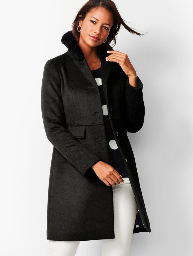 Faux-Fur-Trim Wool Coat