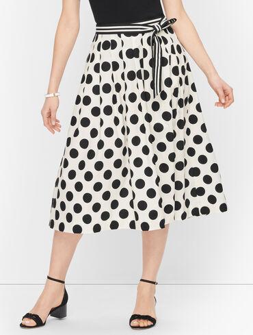 Tie Waist Poplin Midi Skirt