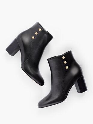 Lilia Side-Button Booties - Vachetta Leather